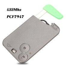 Jingyuqin 433 MHz Pcf7947 رقاقة 2 أزرار عن بعد حافظة بطاقات مفاتيح السيارة قذيفة مع شفرة لرينو لاغونا مع شفرة مفتاح غير مصقول