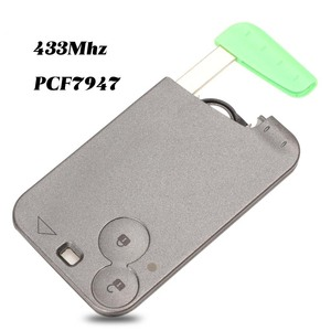Image 1 - jingyuqin 433 MHz Pcf7947 Chip 2 Buttons Remote Car Key Card Shell Case With Blade For Renault Laguna with Uncut Key Blade