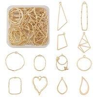 20 ~ 48 teile/schachtel Goldene Legierung Open Back Lünette Geometrische Anhänger Mixed Formen Für DIY Gedrückt Blume Halskette Schmuck DIY, der