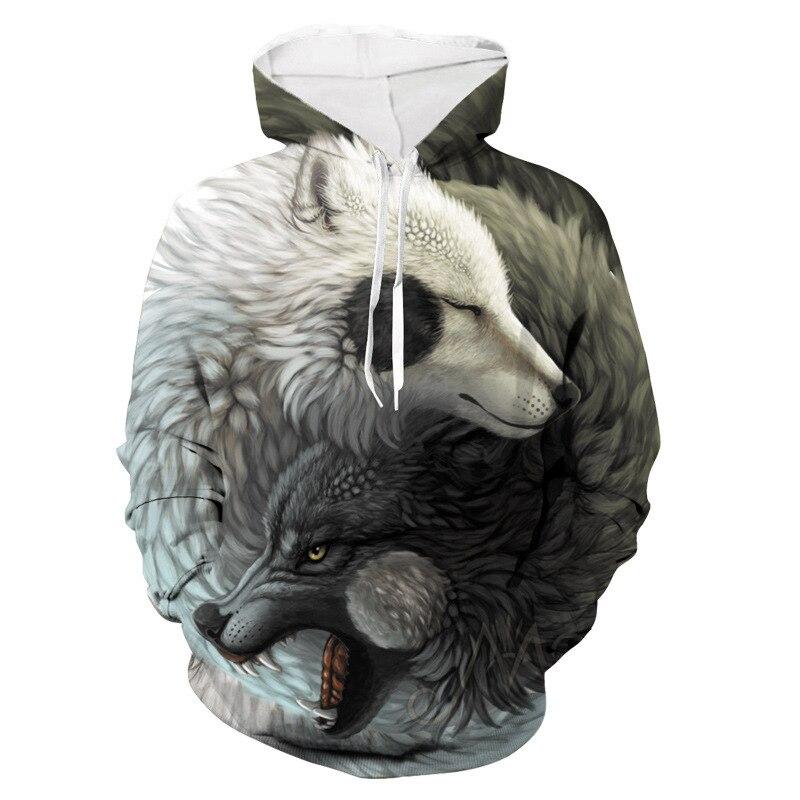 Толстовки с принтом волка тотема мужские 3d толстовки брендовые