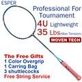 ESPER профессиональная ракетка для бадминтона 4U углеродное волокно легкая графитовая ракетка высокое качество высокое напряжение с веревкой...