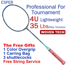 ESPER Professional Badminton Racket 4U Carbon Fiber Lightweight Graphite Racquet High Quality High Tension With String and Gifts цена