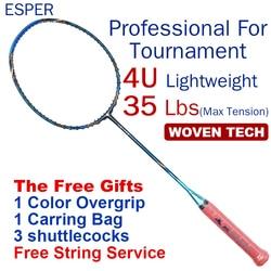 ESPER Professionele Badminton Racket 4U Carbon Lichtgewicht Graphite Racket Hoge Kwaliteit high Spanning Met String en Geschenken