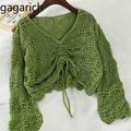 Gagarich женская блузка в Корейском стиле, новинка осень-весна 2020, Свободные Короткие плиссированные топы карамельных цветов с V-образным вырез...