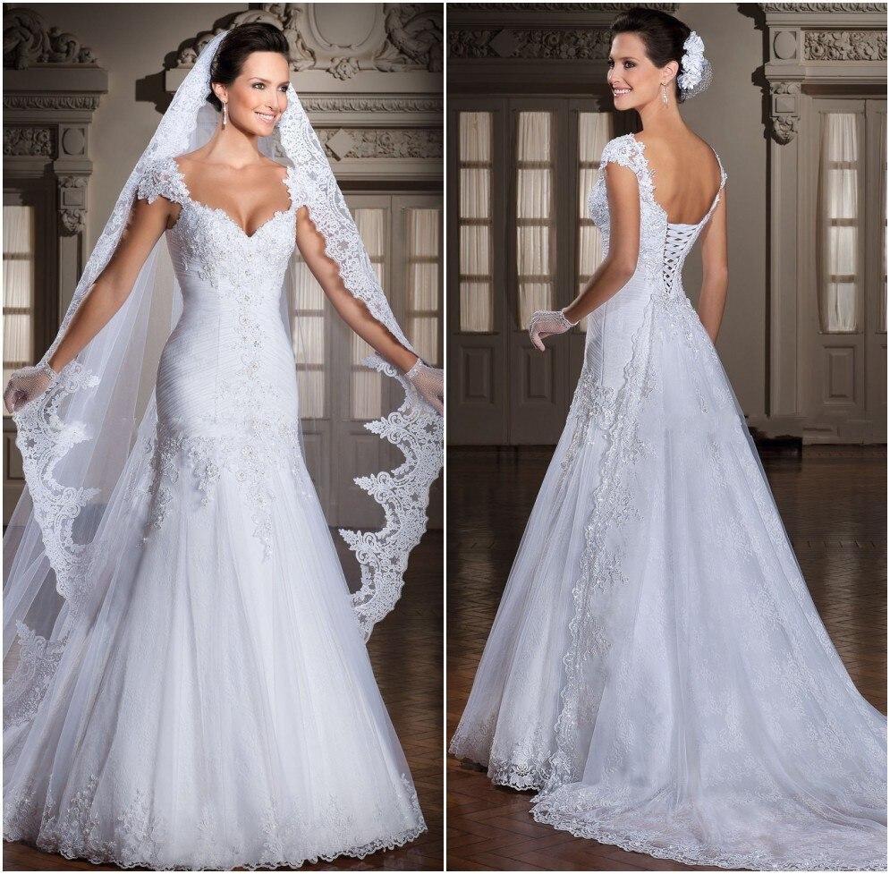 Sexy Lace Wedding Dress Robe De Mariage 2016 Vestido De Noiva Appliques A-line Bridal Gowns Women Cap Sleeve Beading Brides