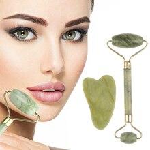 Sha-Tools-Set Scraper Massager Relax Green-Roller Eye-Face-Neck Natural Jade New Gua