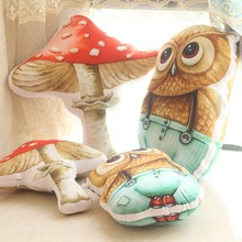 Funny Owl/mushroom Pillow Cartoon Animals Plants Cushion Decoration Room Cute Doll Kid Toy(China)