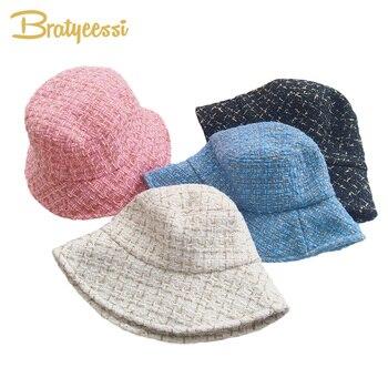 New Fashion Kids Bucket Hat Baby Cap Autumn Winter Baby Hat Kids Cap All Match Children Hats for Girls fashion wifi signal pattern bucket hat for men