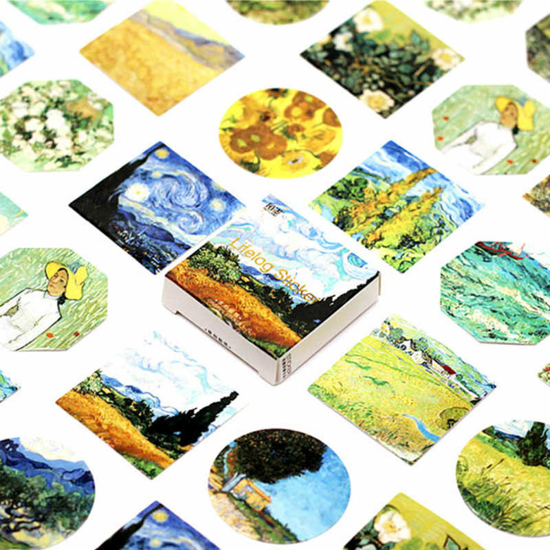 40Pcs/Pack Van Gogh Painting Stationery Stickers Doodling Travel DIY Sticker Car Motorcycle Luggage Laptop Bike Scooter Toys