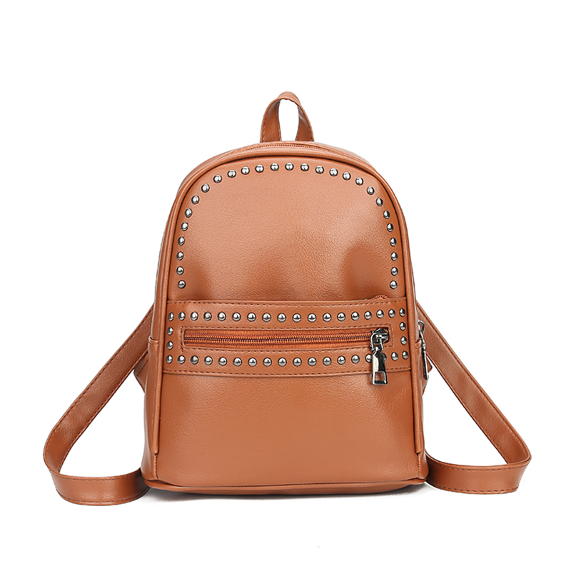 Fashion Female Leisure BagHigh Quality Women Backpacks Rivet Black Brown PU Leather Bag Schoolbags For Girls Multi-use Bags