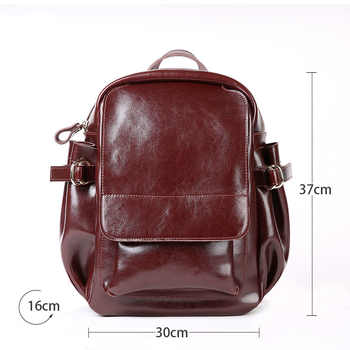 Women New Luxury Backpack Genuine Leather Travel Mochilas Mujer 2019 For Teenage Girls Vintage High Quality Morrales Para Mujer