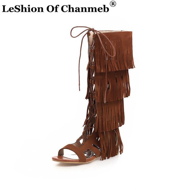 Largest Size 48 Gladiator Sandals Women Retro Tassel Shoes Woman Ladies Lace up Knee High Summer Boots Female Fringe Sandals 33