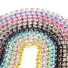 Venda quente 1m de costura cristal strass corrente ss6 ss8 ss10 ss12 base prata garra gule em strass guarnição diy beleza acessórios