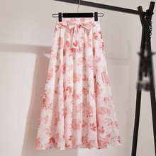 Bohemian Knee-Length Skirt Women Summer Korean Fashion Print Chiffon Skirt Female Boho Sun High Waist Skirts