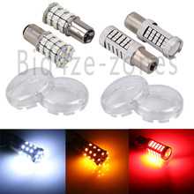 Motorcycle LED Front 1157+Rear 1156 Turn Signals Brake SMD Bulb Light W/ Clear Lens For Harley Touring Sportster Dyna Softail(China)