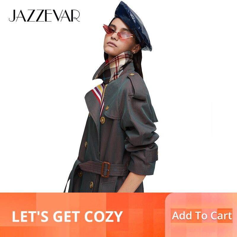 JAZZEVAR 2019 جديد وصول الخريف الكاكي خندق معطف المرأة عارضة الأزياء عالية الجودة القطن مع حزام طويل معطف للنساء 9004-في معطف مبطن من ملابس نسائية على  مجموعة 1