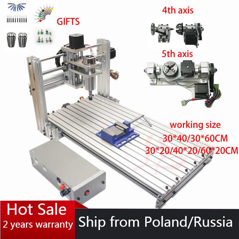 DIY MINI CNC Router 3020 3 4 5 osi maszyna do grawerowania drewna 3040 tokarka do grawerowania metalu 6030 400w USB z wiertłami frezy