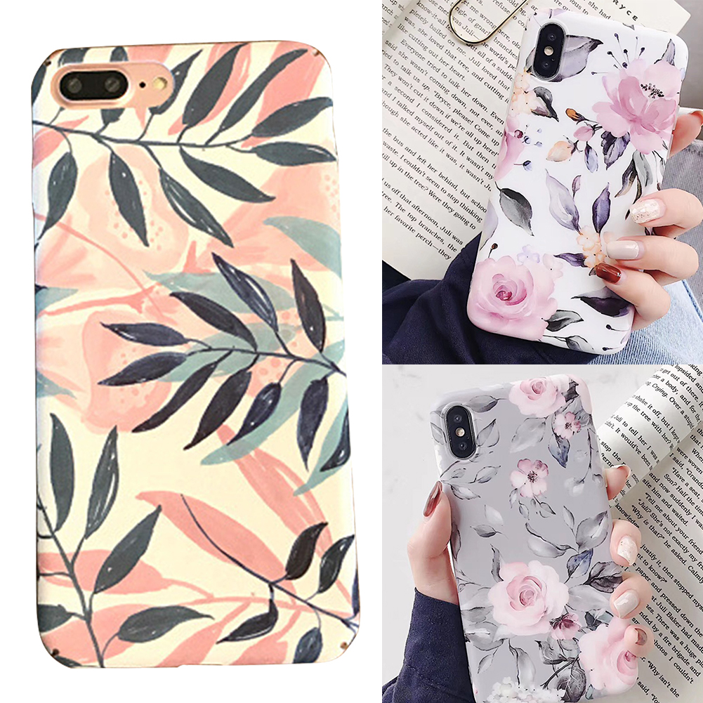 TPU Flower Print Easy Apply Shockproof Shell Case Protective Cover Back Cover Dust Resistant Fashion For Iphone 8 Plus XS Max XR in Fitted Cases from Cellphones Telecommunications