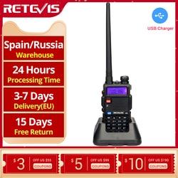 Удобная портативная рация RETEVIS RT5R 5 Вт VHF UHF USB Ham Любительская двухсторонняя рация для страйкбола, охоты, рации для Baofeng UV-5R