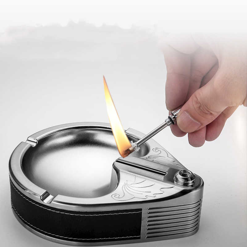 Retro Metal Ashtray Ten Thousand Match Multifunction Lighter Ashtray