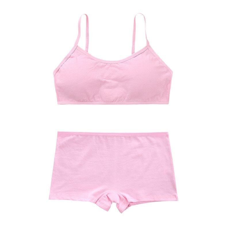 Cotton Bra Set Teens Training Bras Girls Underwear Set Teenagers Puberty  Wireless Bra+Underpants 6