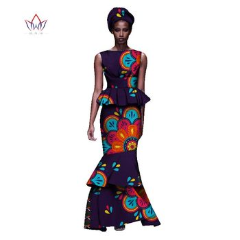 2020 New African Dresses For Women Dashiki Ladies Clothes Ankara O-Neck Africa Clothes Two Pieces Set Natural 6xl None WY1054 - 20, L