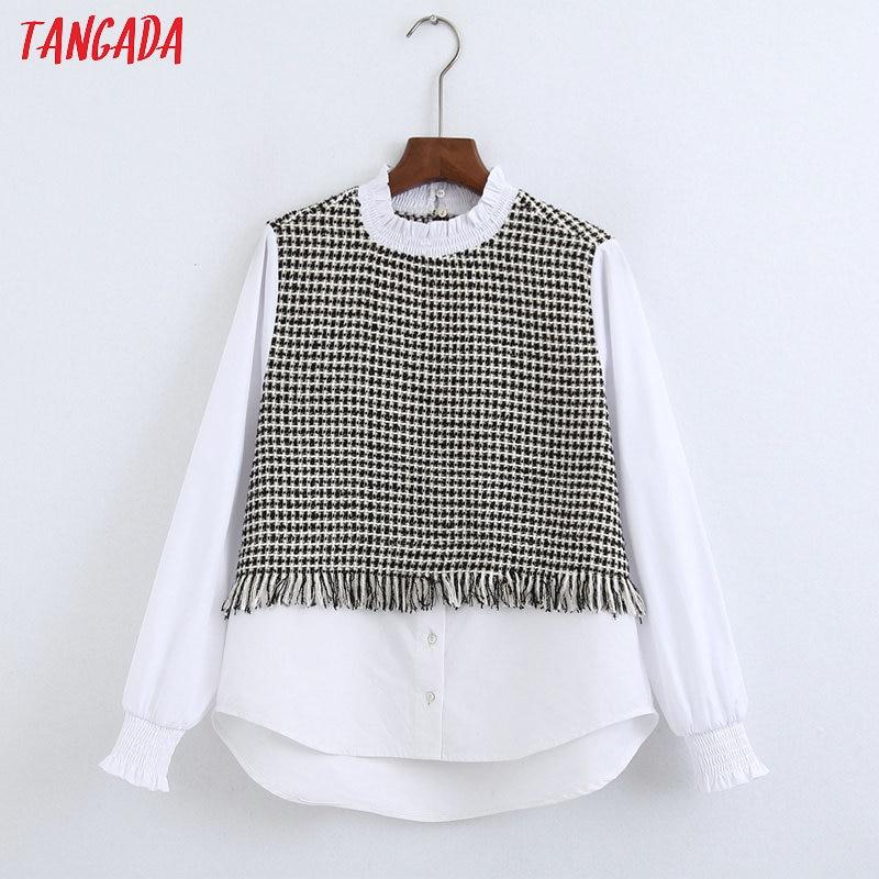 Tangada Women White Shirts Plaid Tassel Patchwork Long Sleeve Elegant Office Ladies Work Wear Blouses 6Z35