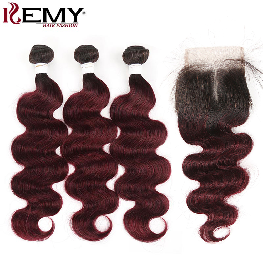 Brazilian Body Wave Human Hair Bundles With Closure KEMY HAIR Ombre Red Hair Weave Bundles With Closure Non Remy Hair Extension