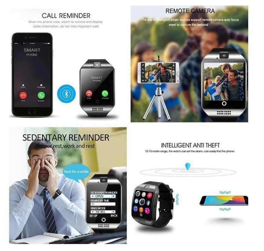 Bluetooth montre de sport intelligente Q18 avec caméra Facebook Whatsapp Twitter synchronisation SMS Smartwatch prise en charge de la carte SIM TF pour IOS Android