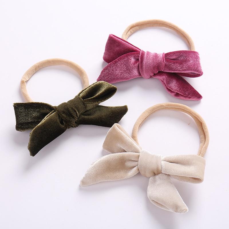 Baby Girl Headband Velvet Newborn Bow Head Band Infant Thin Nylon Headbands Soft Hairband Toddler Spring Summer Hair Accessories
