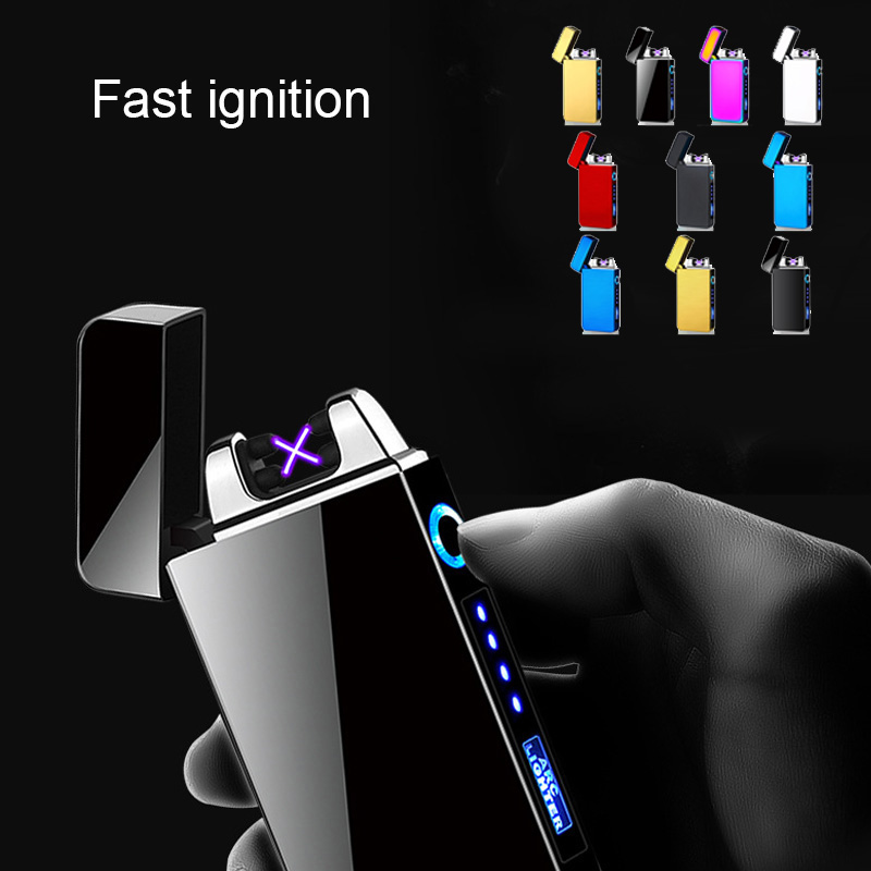New Double Arc Charging Lighter Touch Electrical Display Lighter For Lamp Lighter Windproof Ultra-thin USB Cigarette Lighter