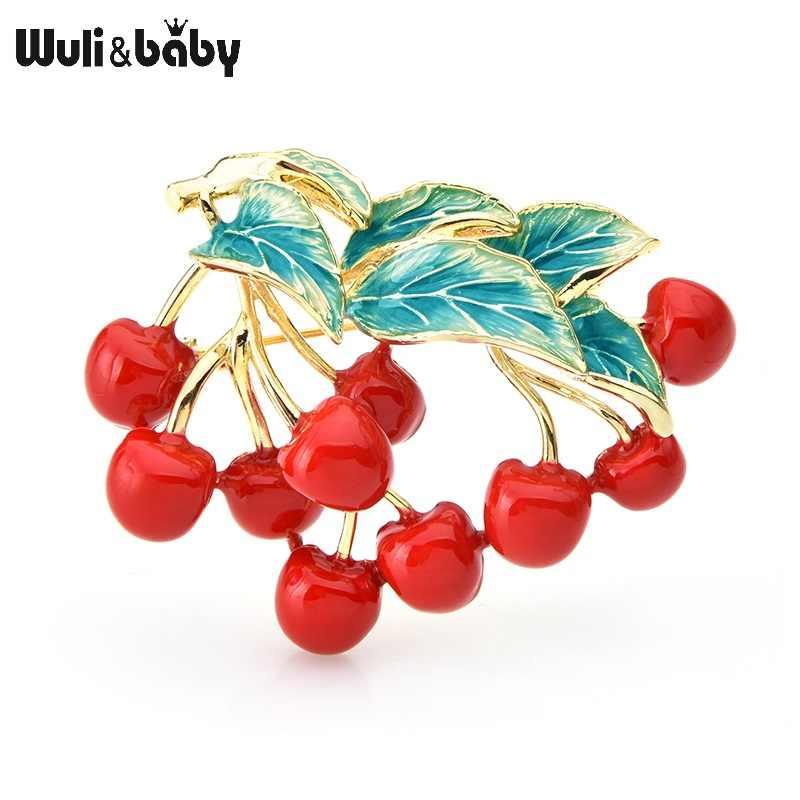Wuli & del bambino Rosso Dello Smalto Cherry Spille Donne Ramo di Ciliegie Matrimoni Banchetto Spilla Spilli Regali