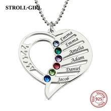 StrollGirl 925 Sterling Silver Engraved Heart Birthstones Pendant Necklace Personalized Custom Name Collars Mother's Day Gift u7 100% 925 sterling silver heart shape engraved personalized custom photo pendant necklace mother s day gifts for lovers sc83