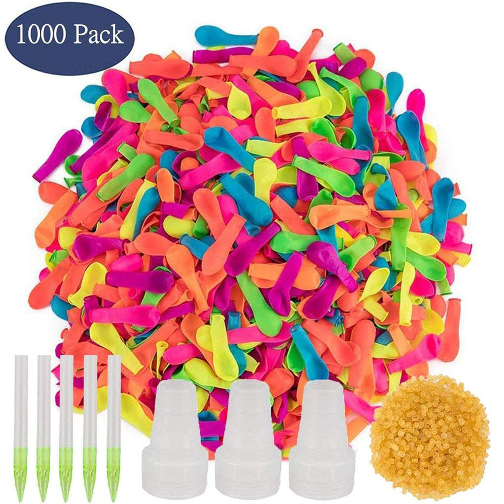 1000 Pcs Aying Water Polo Water Balloons With Refill Quick Easy Kit Latex Water Bomb Balloons Fight Games For Kids Adults