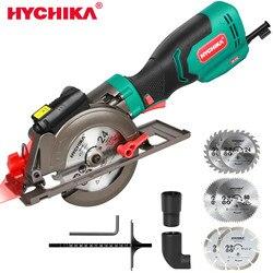 HYCHIKA Mini Circular Saw, 750W Laser Guide Electric Circular Saw, 3500RPM Saw Power Tool with 6 Blades