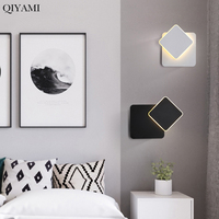 Round / Square LED Wall Lamp for Bedroom living room white black sconce wall lights 360 degrees Rotatable Metal fixtures