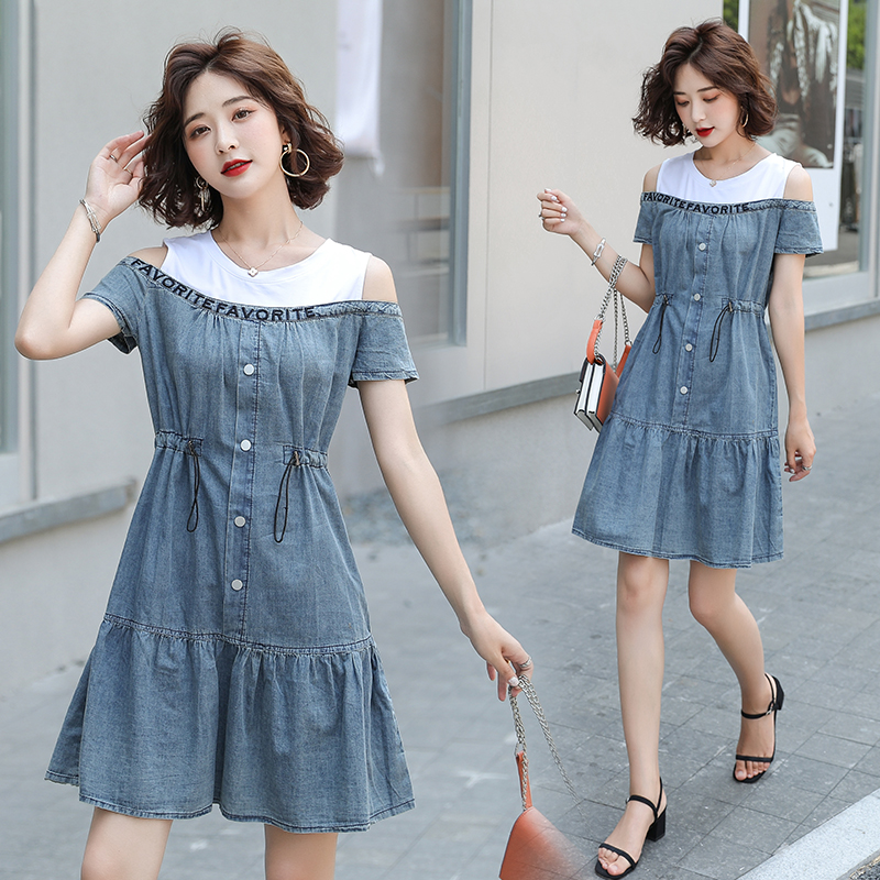 HAYBLST Brand Denim Dress Womens 2020 Summer Short Sleeves Plus Size Clothes Kawaii High Quality Korean Style Patchwork Clothing(China)