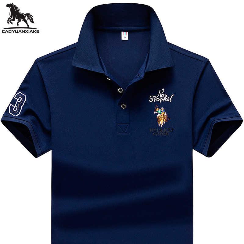 Letni mężczyzna Polo koszula 95% z włókien syntetycznych koszulka Polo mężczyzna koszulka Polo z krótkim rękawem koszula mężczyzna haftowane Business Casual koszulka Polo 1733
