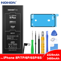 NOHON Battery For iPhone 8 7 6 6S Plus 8Plus 7Plus 6Plus 6SPlus Li Polymer Phone Replacement Battery Max Capacity + Free Tools