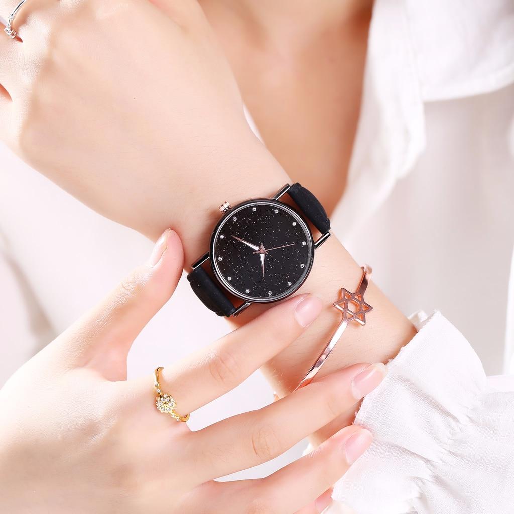 Women Leather Starry Sky Diamond Watch Casual Luxury Ladies Quartz Watches Clock Relogio Feminino