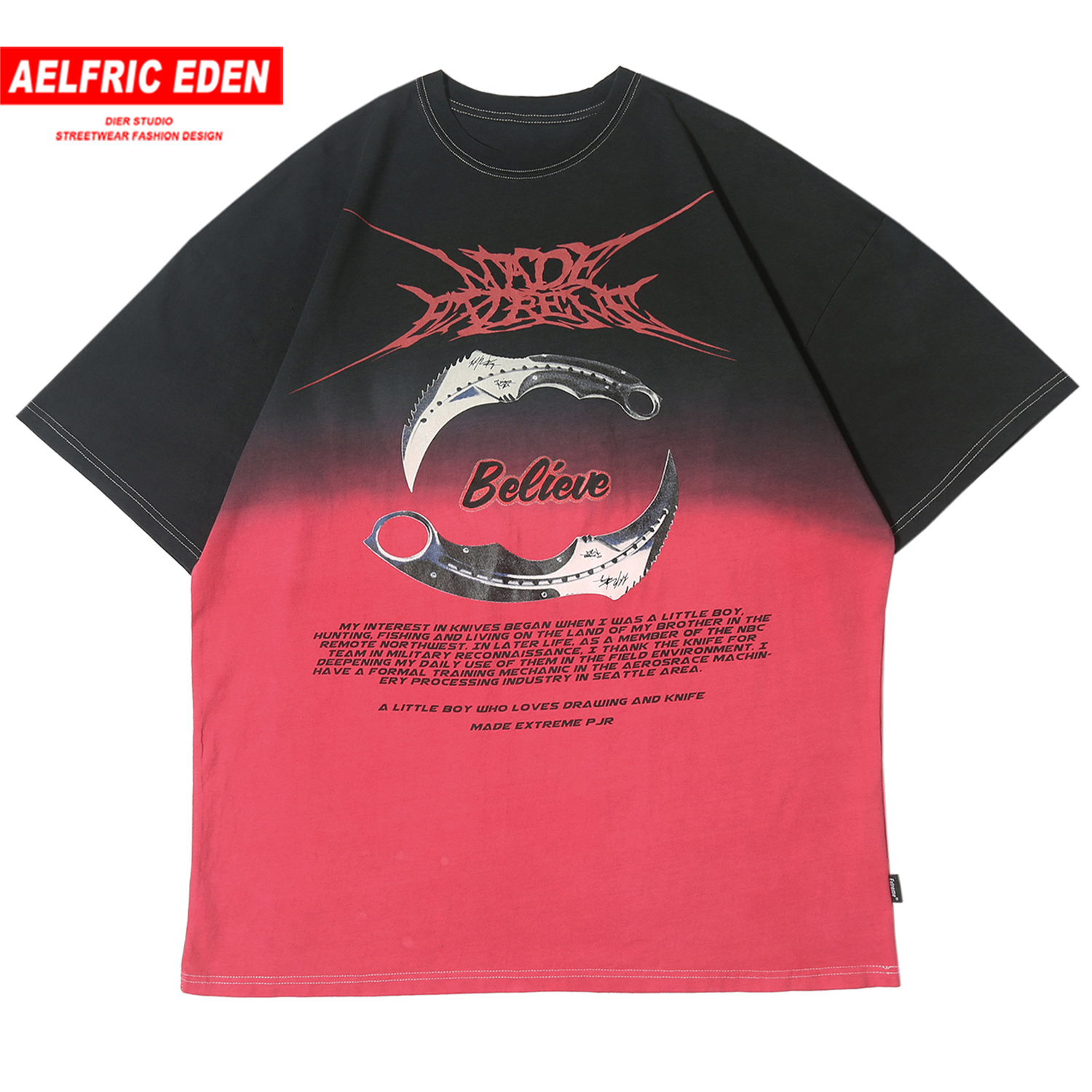 Aelfric Eden Gradient Double Knife Print T Shirt Men 2020 Loose Tops Harajuku Fashion Streetwear Casual Cotton Male Half Sleeve