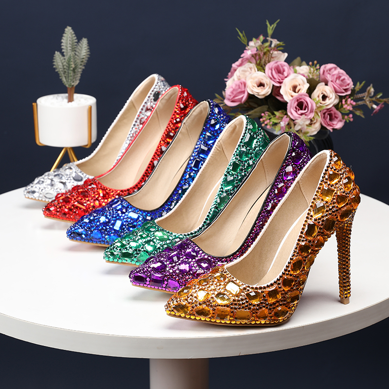 BaoYaFang Pointed Toe High Heels Fashion Wedding Shoes Bride Ladies Women Party Dress Pumps Female Shallow Thin Heel Shoes Woman