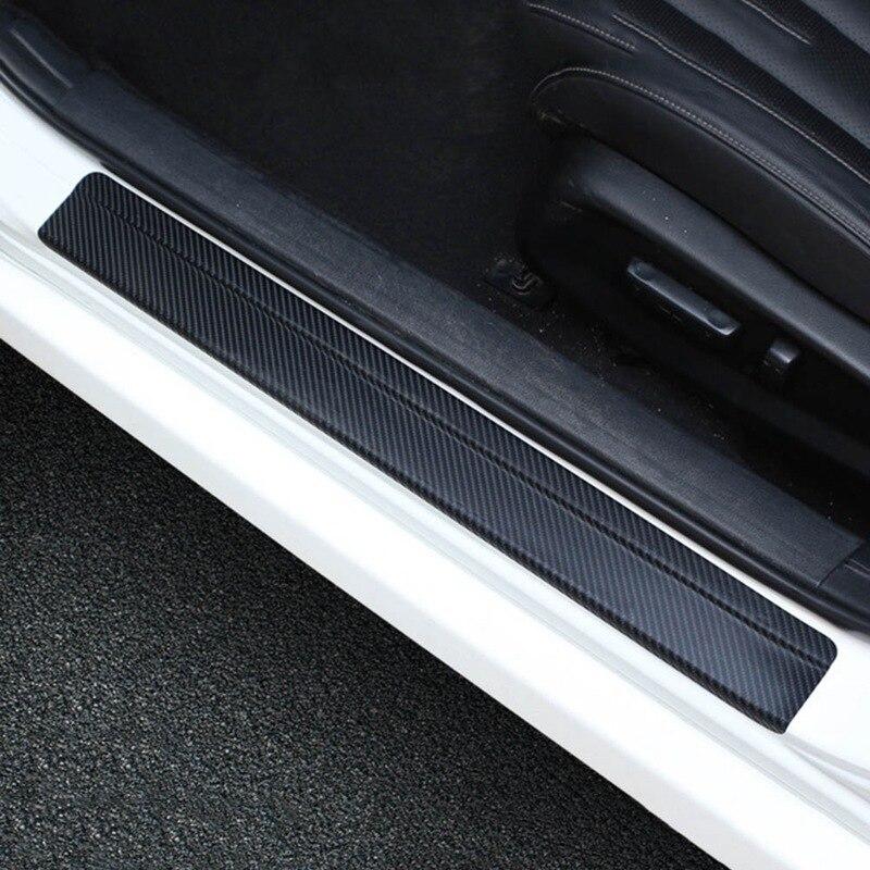 4 ピース/セットユニバーサルカースタイリングステッカー 3D 炭素繊維ドアシルスカッフプレートガードドア敷居プロテクター車のアクセサリー