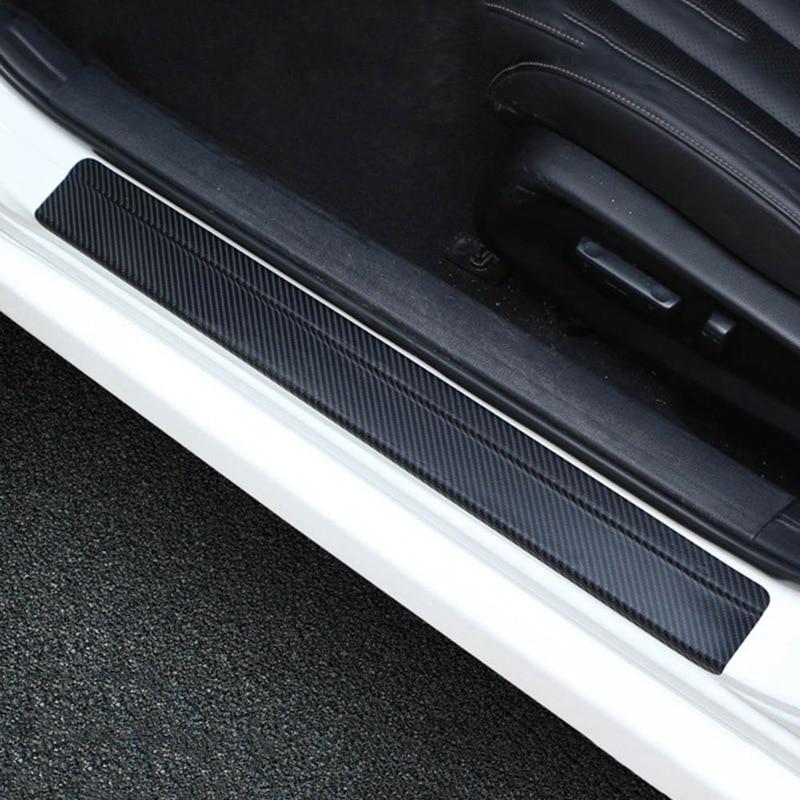 4Pcs/Set Universal Car Styling Sticker 3D Carbon Fiber Door Sill Scuff Plate Guards Door Sills Protector Car Accessories