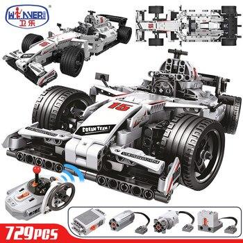 ERBO 729 Uds City F1 coche de carreras teledirigido Technic RC coche eléctrico camión de bloques de construcción ladrillos juguetes para niños regalos