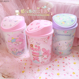 Image 3 - My Melody Cinnamoroll Pudding Dog Little Twin Star Action Figure Cartoon Household Trash Can With Lid Kitchen Bathroom Waste Bin