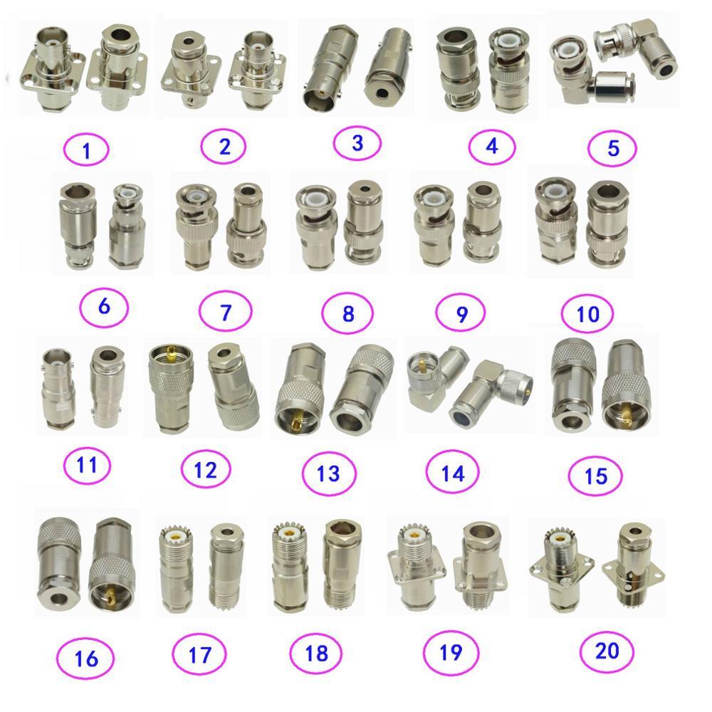 1pc Connector BNC / UHF SO239 PL259 Male Jack & Female Plug Clamp RG316 RG174 / RG58 RG142 / RG8X LMR240 / RG5 RG6 / RG8 LMR400