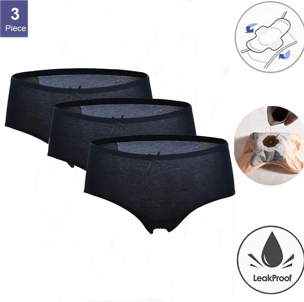 3pcs/Set Women Menstrual Panties Period Physiological Pants for Girls Waterproof Briefs Leak Proof Women Underpants