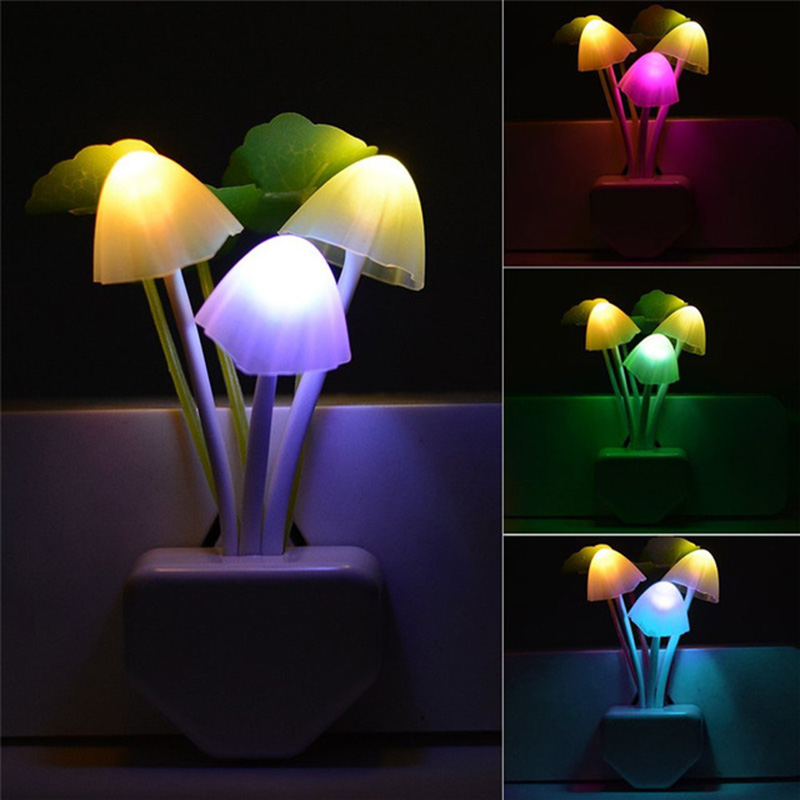 Novelty Mushroom Fungus Night LED Light Intelligent Light Control Creative DIY  EU & US Plug Light Sensor 220V Colorful Mushroom