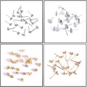50pcs Stud Earrings DIY Stainless Steel Earring Pins Band Loop Back Metal Stopper Jewelry Making Findings Earring Base